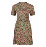 Freebird Neon-flower-vis-01 short sleeve mini dress pimmy ss green