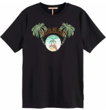 Maison Scotch Regular fit tee with graphic in var black
