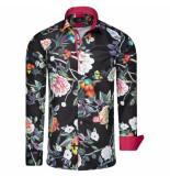 Makrom London overhemd bloemenprint zwart