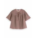 Scotch & Soda 162469 0219 drapey short sleeve top combo c