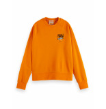 Scotch & Soda 162816 2014 relaxed fit sweat with chest graphic in organic cotton blend bright orange