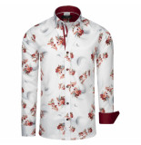 Makrom London overhemd bloemenprint burgundy