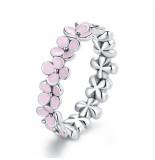 Mijn bedels Sterling ring roze bloemenkrans