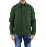 Off White Ow logo work shirt kombu green