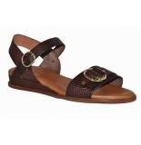 Red Rag Artikelnummer 79344 donker bruine sandalen met dierenpatroon en gouden details