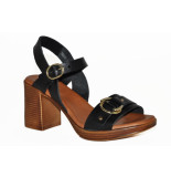 Red Rag Artikelnummer 79360 zwarte hak sandalen met gouden details
