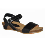 Red Rag Artikelnummer 79244 zwarte sandalen met sleehak en zilveren gesp
