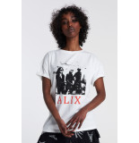 Alix The Label 2106892045 ladies knitted boxy photo t-shirt.