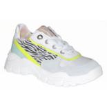 Red Rag Artikelnummer 12162 witte sneakers met zebra print en neon gele details
