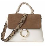 LUELLA GREY India rope top handle crossbody handbag putty/white