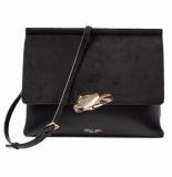 LUELLA GREY Megan sculptured clasp crossbody handbag black