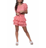 Colourful Rebel Nuna broderie anglaise layer mini skirt pink