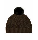 Ted Baker Telinn faux fur pom knitted hat black