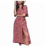 Colourful Rebel Midi dress sia leopard button down red white