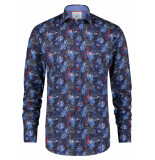 A Fish Named Fred 23.01.005 shirt treasure map overhemd blue multicolour -