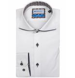 Bos Bright Blue Uni overhemd met contrast 7-01/0004