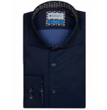 Bos Bright Blue Uni navy overhemd met contrast 7-02/0010