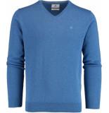 Bos Bright Blue Vince v-neck pullover flat kn 21305vi01bo/268 jeans blue