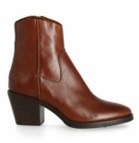 Shabbies Women ankle boot 7 cm with zipper shiny grain leather brown