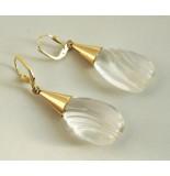 Christian Gouden oorbellen met bergkristal