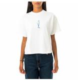 OBEY T-shirt donna tulip custom crop tee 267621988.wht