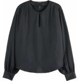 Maison Scotch Pleated shoulder cupro top black