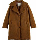 Maison Scotch Coat midi-length teddy golden sand