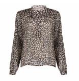 Geisha 13537-70 999 blouse leopard with lurex black/dark sand/ brown