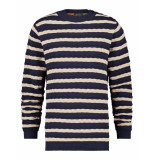 A Fish Named Fred 23.01.524 striped cable sweat trui navy blue -