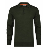 A Fish Named Fred 23.02.404 knitted merino polo dark green -