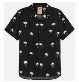 OAS Blouse men black palm shirt
