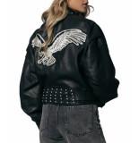 Colourful Rebel Meryn leather biker jacket black