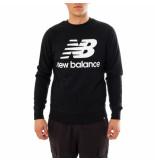 New Balance Felpa uomo essentialas stacked logo crew mt03560bk