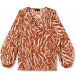 Refined Department Woven zebra chiffon blouse camel