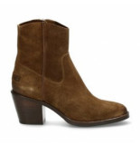 Shabbies Women ankle boot with zipper waxed suede warm brown