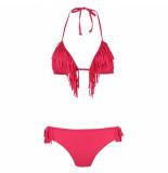 Shiwi Bikini triangle fringe fusion red fuchsia