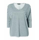 Tramontana T-shirt stripe v-neck silver