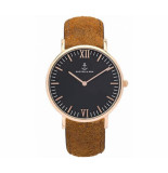 Kapten & Son Horloge black brown vintage leather campus 4251145223571 geel goud