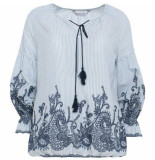 Summum 2s2015-10490 429 top long sleeve cotton striped embroidery blauw