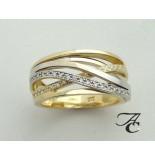Atelier Christian Gevlochten bicolor gouden ring met briljanten geel goud