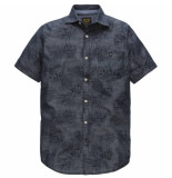 PME Legend Psis184205 5056 short sleeve shirt chambray print fraser blauw