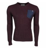 Crosshatch Trendy fijn gebreide heren trui met borstzak heysham bordeaux