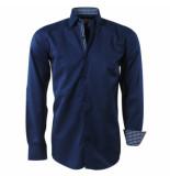 Brentford and Son Ongetailleerd heren overhemd met geblokte kraag blauw