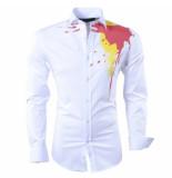 Nickelson Heren overhemd color splash slim fit stretch wit