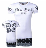 DWN Lifestyle Heren longshirt new york 1995 wit zwart