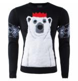 Season's Heren kersttrui fijn gebreid ronde hals polar bear zwart