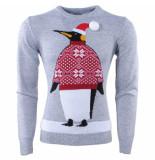 Season's Heren kersttrui fijn gebreid ronde hals pinguïn licht grijs