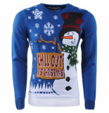 Season's Heren kersttrui fijn gebreid ronde hals chill out it's christmas donker blauw