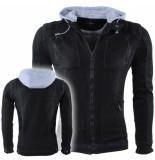 Hite Couture Heren denim jacket capuchon borstzakken slim fit nabulit zwart