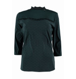 Zip73 W425/04/05 top ruffle dark green groen